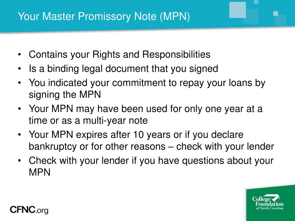 Your Master Promissory Note (MPN)