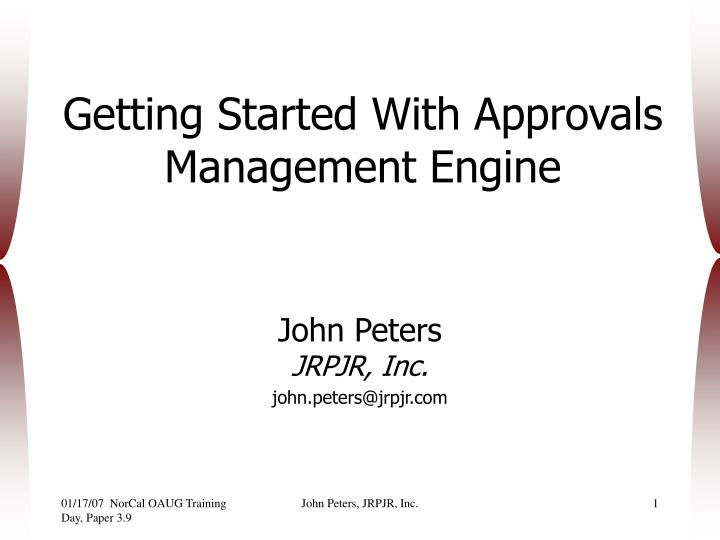 getting started with approvals management engine n.