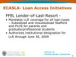 ecasla loan access initiatives