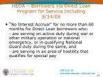 heoa borrowers via direct loan program for service including 8 14 08