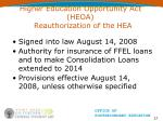 higher education opportunity act heoa reauthorization of the hea