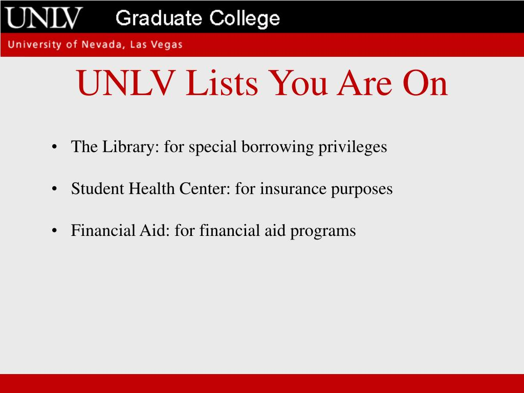 UNLV Lists You Are On