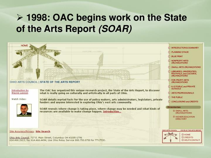 1998: OAC begins work on the State of the Arts Report
