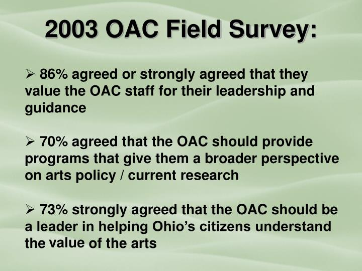 2003 OAC Field Survey: