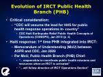evolution of irct public health branch phb