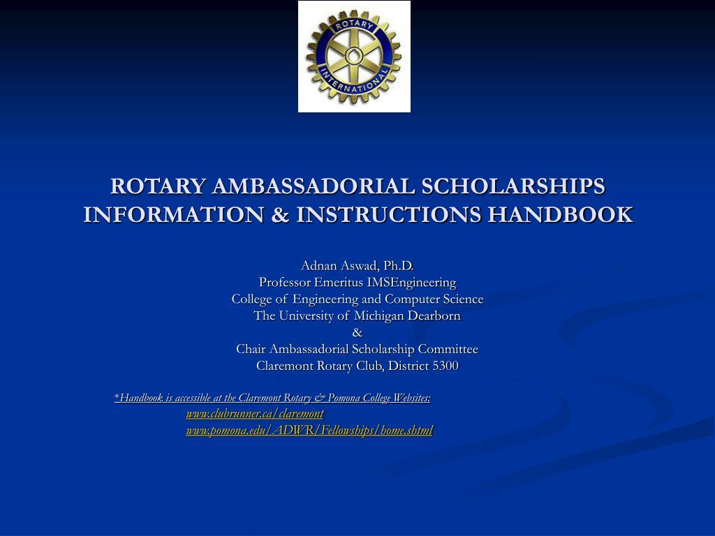 rotary ambassadorial scholarships information instructions handbook l.