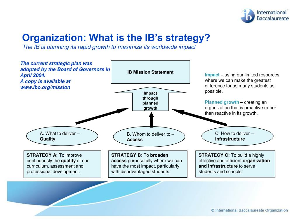 Organization: What is the IB's strategy?