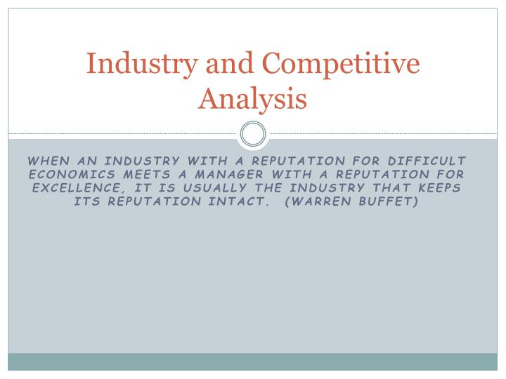 industry and competitive analysis n.