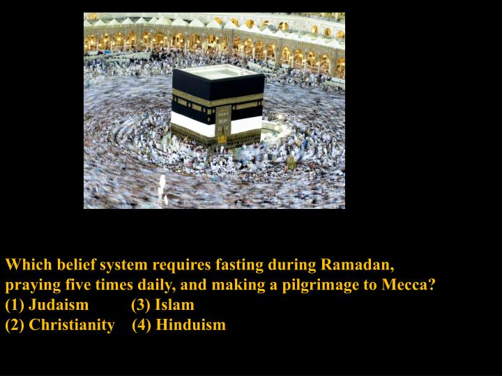 Which belief system requires fasting during Ramadan,