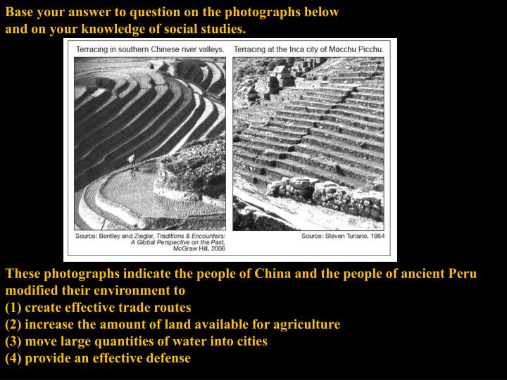 Base your answer to question on the photographs below