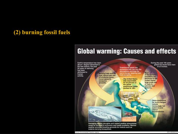 (2) burning fossil fuels