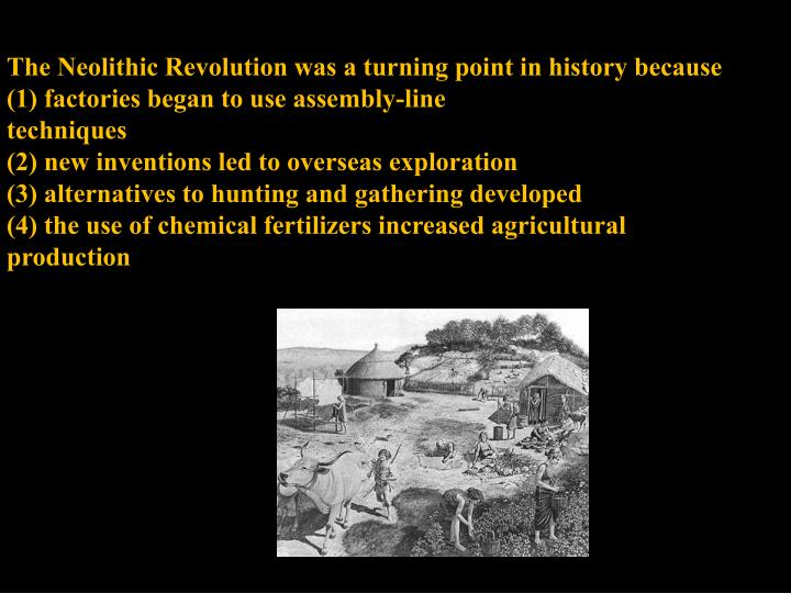 The Neolithic Revolution was a turning point in history because