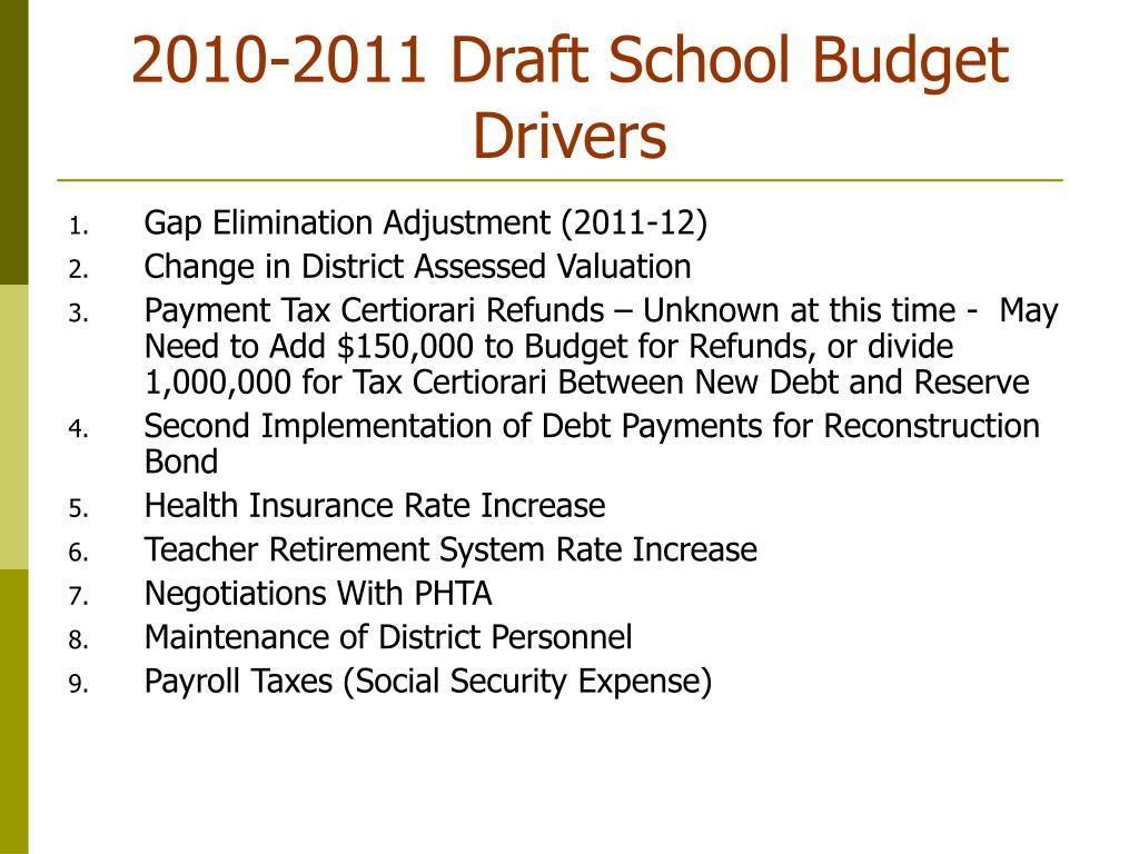 2010-2011 Draft School Budget Drivers