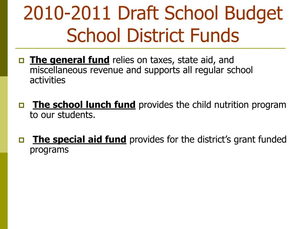 2010-2011 Draft School Budget School District Funds