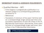 membership grades admission requirements
