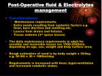 post operative fluid electrolytes management