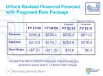 otech revised financial forecast with proposed rate package