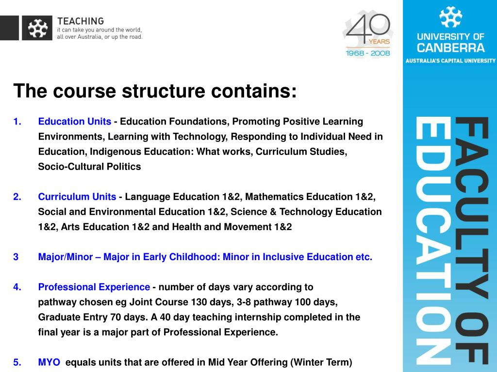 The course structure contains: