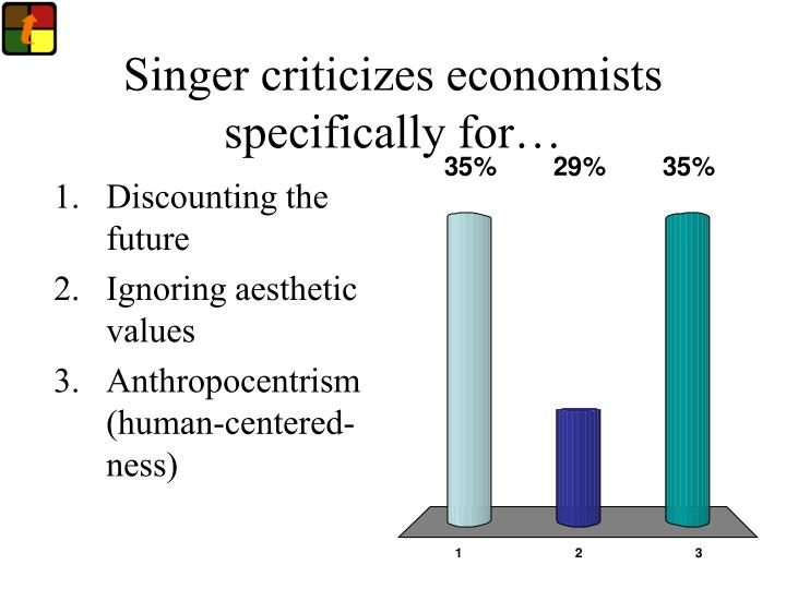 Singer criticizes economists specifically for