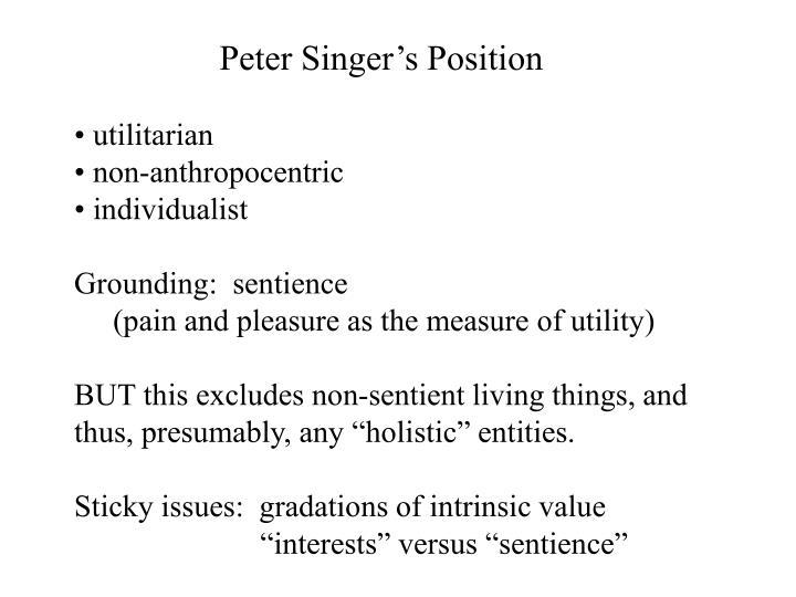 Peter Singer's Position