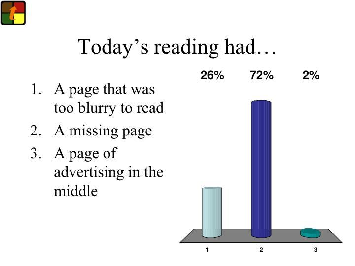Today s reading had
