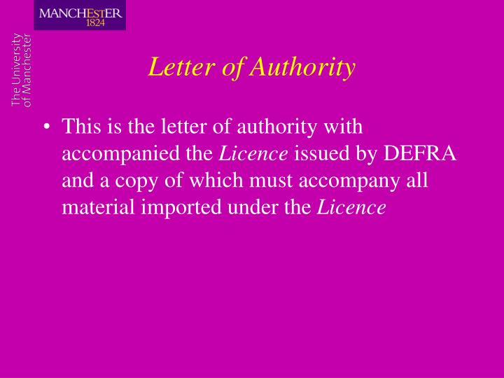Letter of Authority
