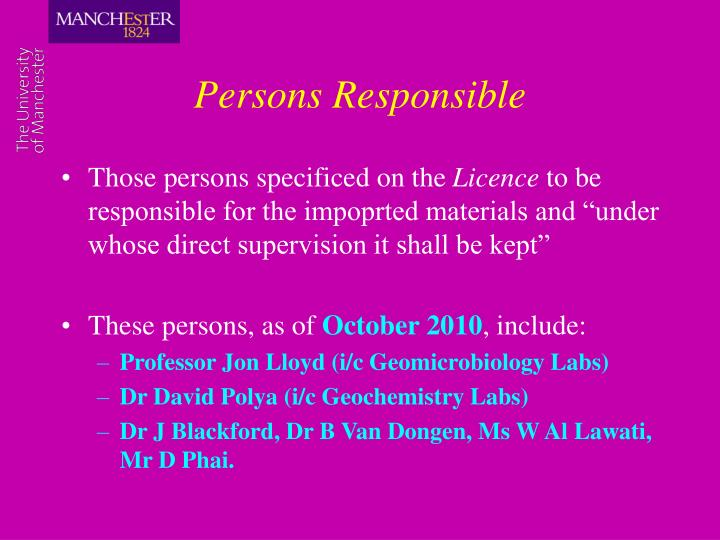 Persons Responsible