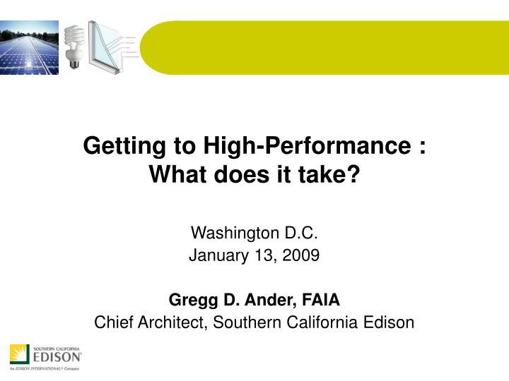 getting to high performance what does it take n.