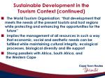 sustainable development in the tourism context continued