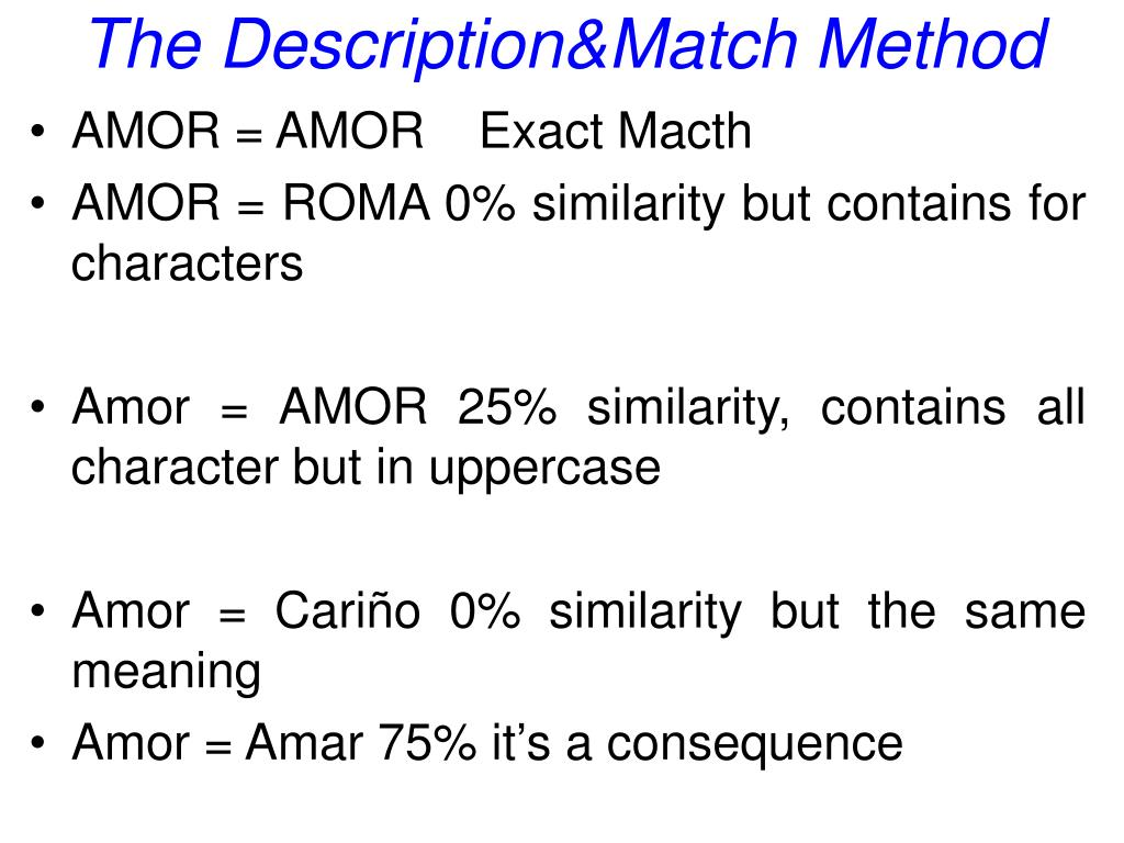 The Description&Match Method