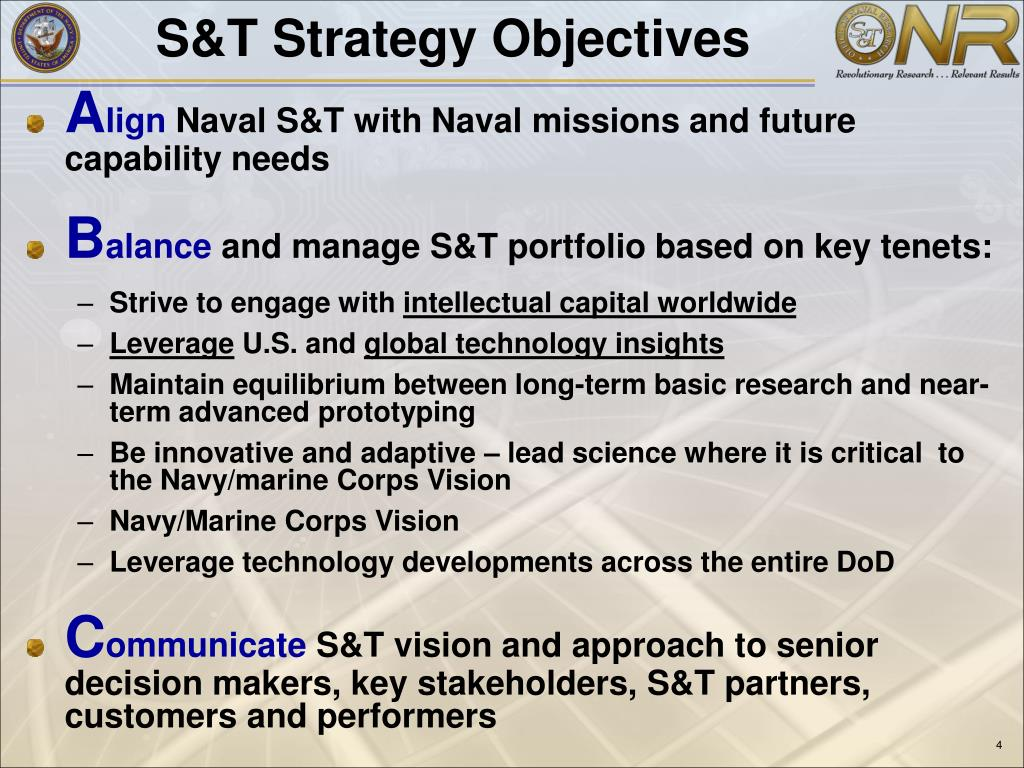 S&T Strategy Objectives