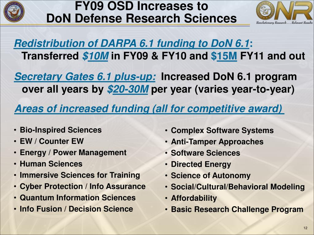 FY09 OSD Increases to