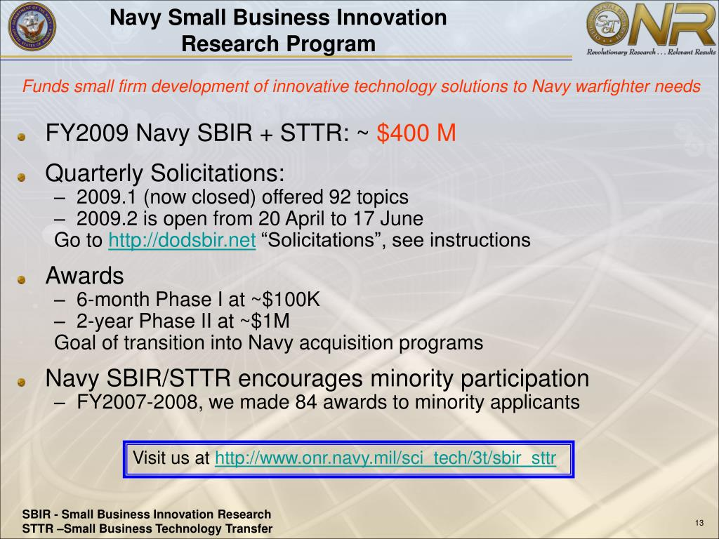 Navy Small Business Innovation Research Program