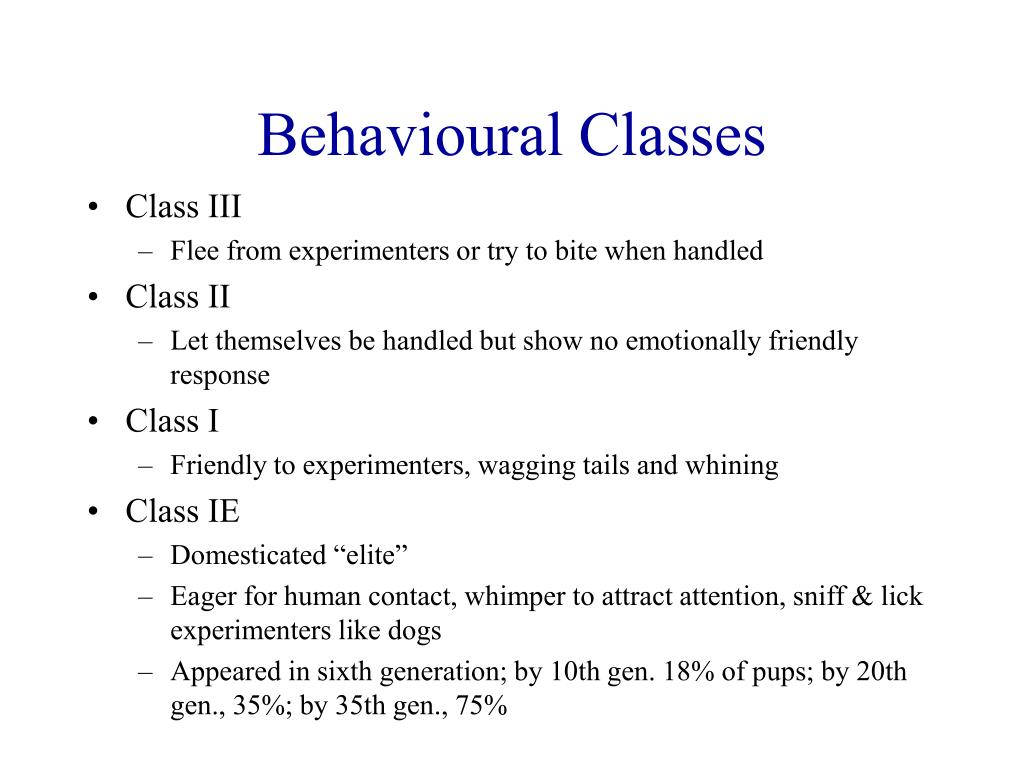Behavioural Classes