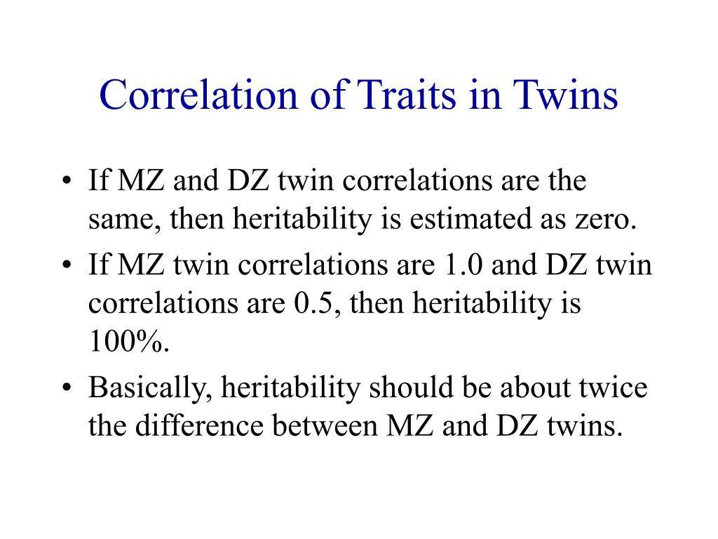 Correlation of Traits in Twins