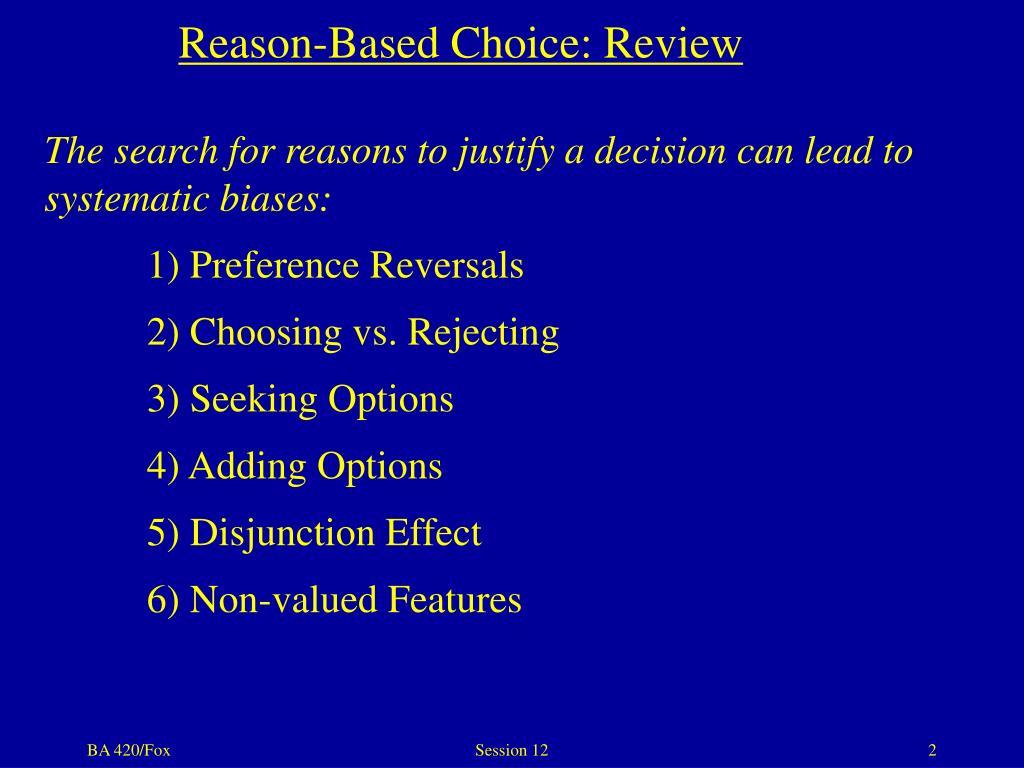 Reason-Based Choice: Review