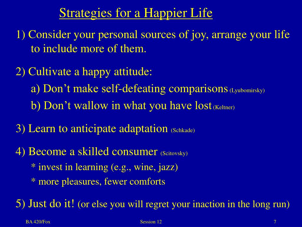 Strategies for a Happier Life