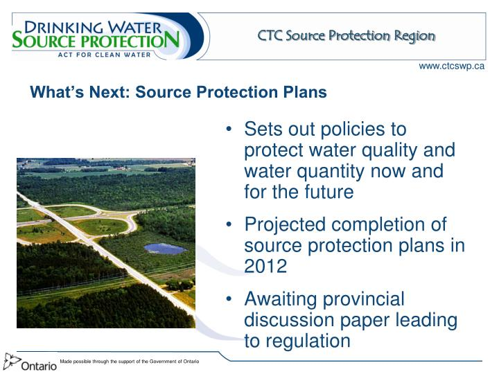 What's Next: Source Protection Plans