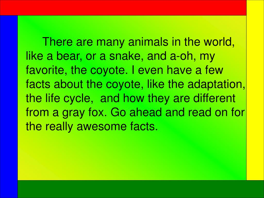 There are many animals in the world, like a bear, or a snake, and a-oh, my favorite, the coyote. I even have a few facts about the coyote, like the adaptation, the life cycle,  and how they are different from a gray fox. Go ahead and read on for the really awesome facts.