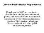 office of public health preparedness