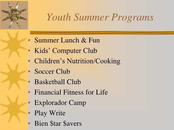 Youth summer programs