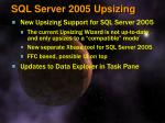 sql server 2005 upsizing