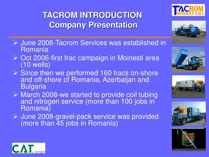 Tacrom introduction company presentation