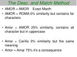 the desc and match method56
