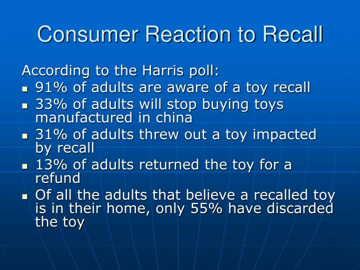 Consumer Reaction to Recall