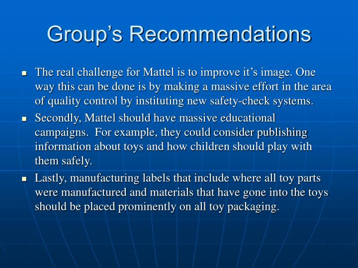 Group's Recommendations
