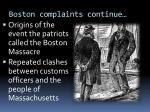 boston complaints continue