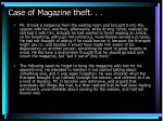 case of magazine theft