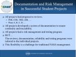 documentation and risk management in successful student projects62
