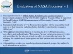 evaluation of nasa processes 1
